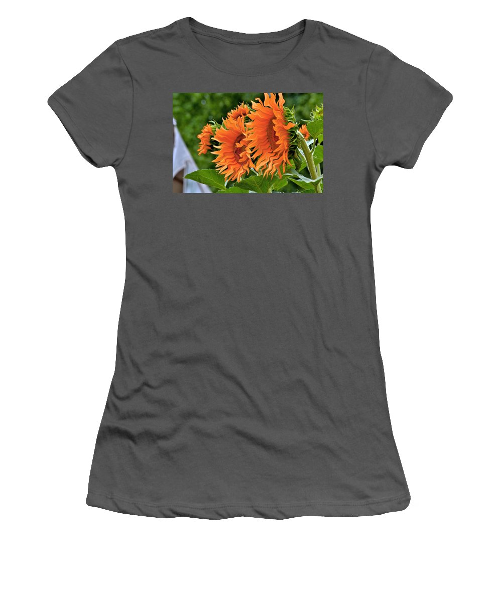Digital Art Women's T-Shirt (Athletic Fit) featuring the photograph Flaming Sunflowers by Bill Owen