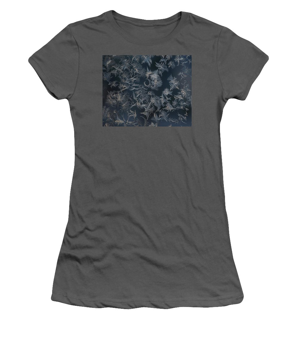 Abstract Women's T-Shirt (Athletic Fit) featuring the photograph Frost Ferns by Susan Capuano