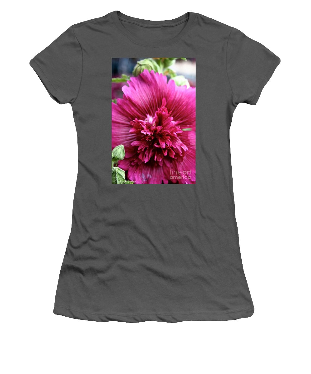 Plant Women's T-Shirt (Athletic Fit) featuring the photograph Fuschia Hollyhock by Susan Herber