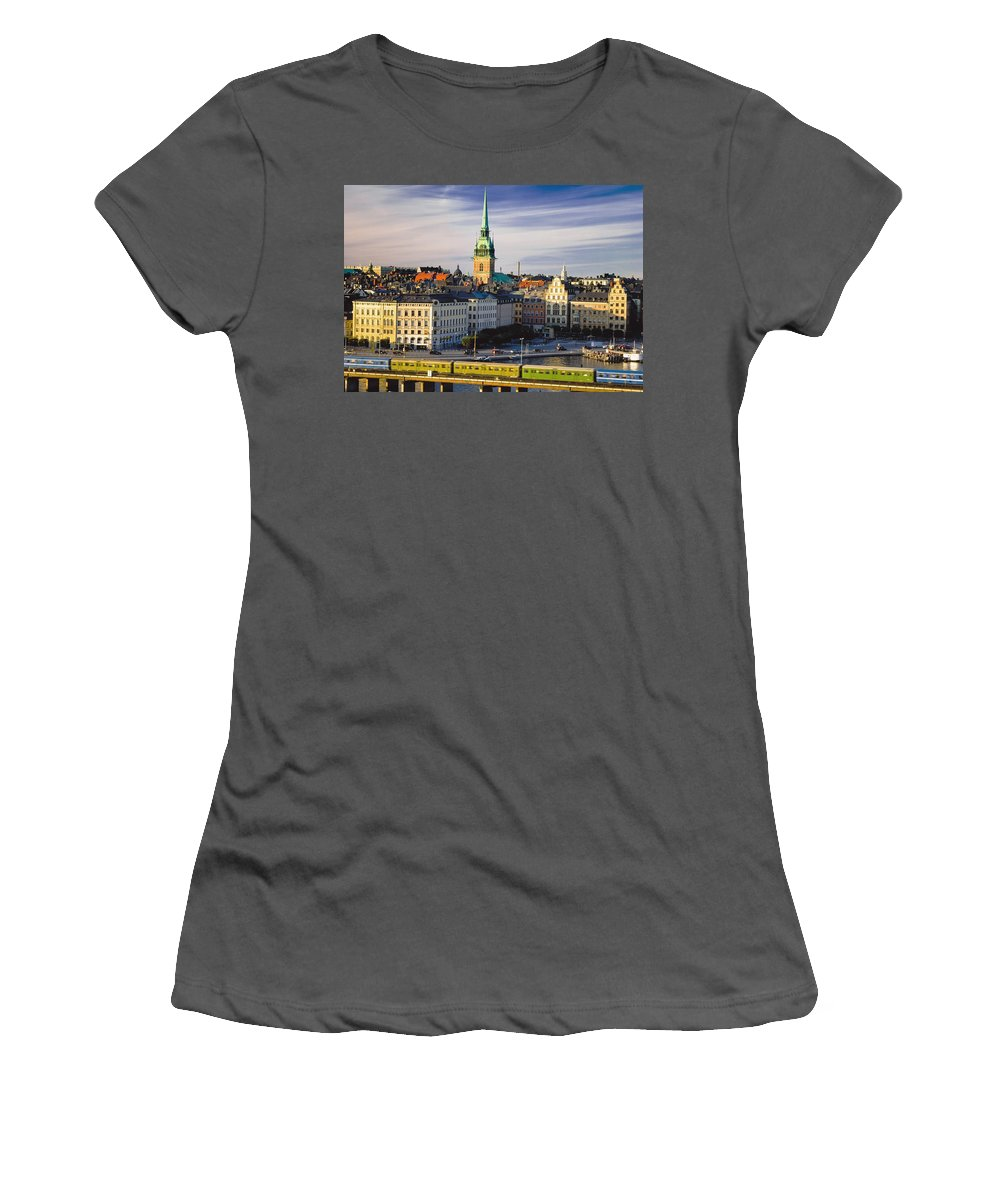 Horizontal Women's T-Shirt (Athletic Fit) featuring the photograph Gamia Stan Skyline by Axiom Photographic