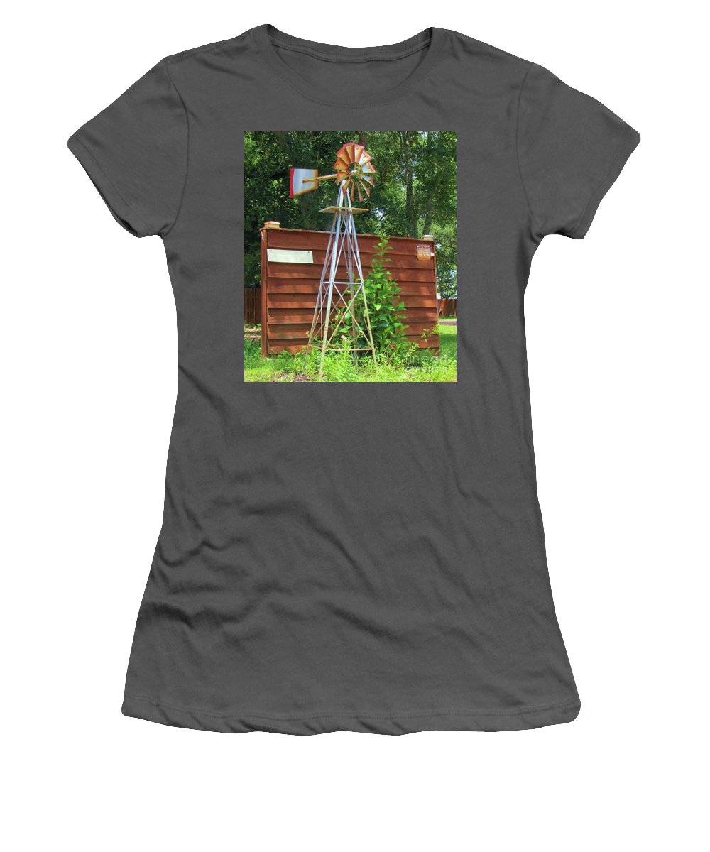 Windmill Women's T-Shirt (Athletic Fit) featuring the photograph Garden Windmill by Michelle Powell