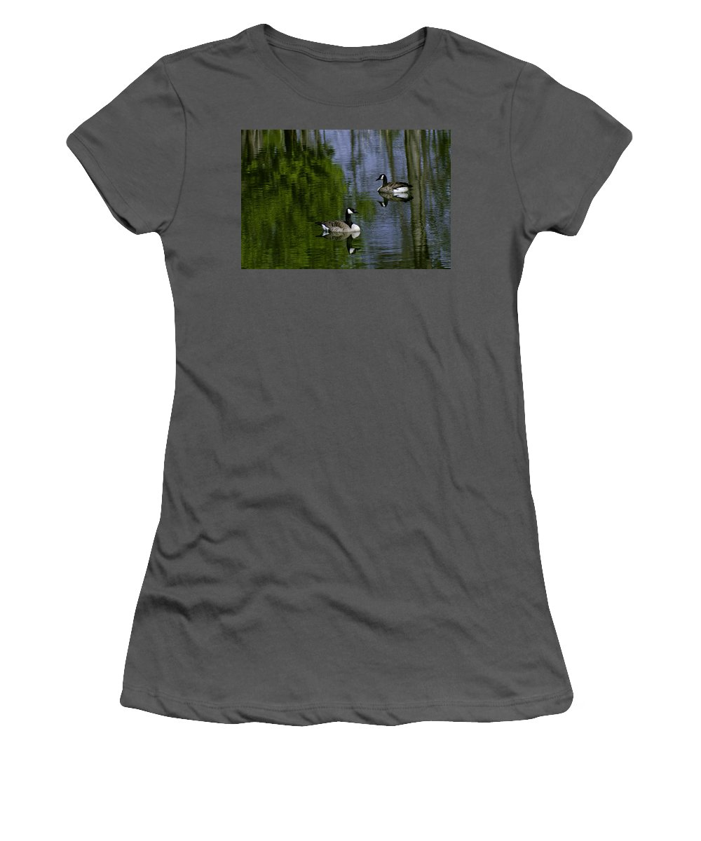 Geese Women's T-Shirt (Athletic Fit) featuring the photograph Geese On The Pond by LeeAnn McLaneGoetz McLaneGoetzStudioLLCcom