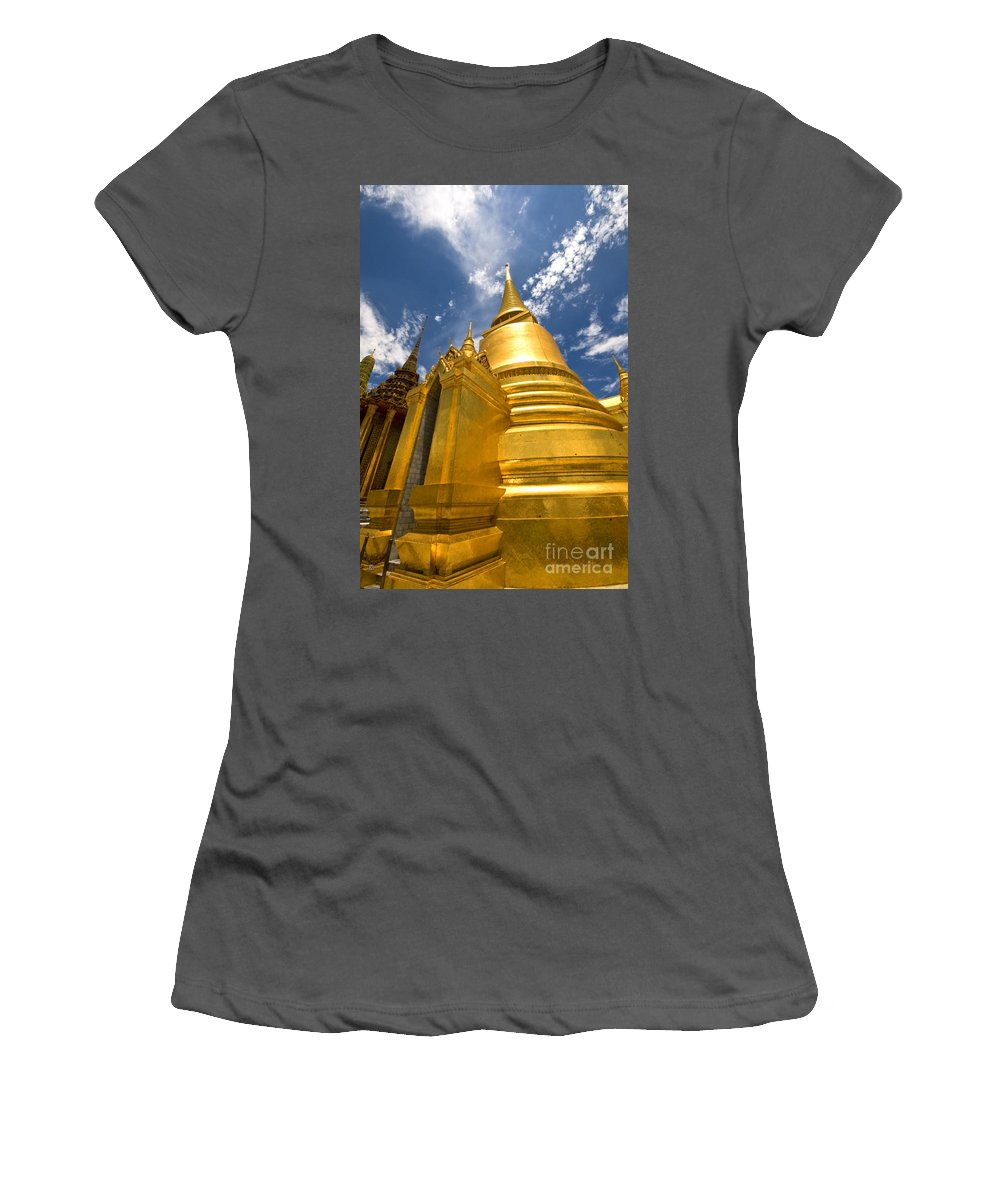 Stupa Women's T-Shirt (Athletic Fit) featuring the photograph Golden Stupa In Grand Palace Bangkok by Charuhas Images