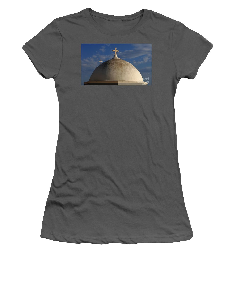 Greece Women's T-Shirt (Athletic Fit) featuring the photograph Greek Domo by Bob Christopher