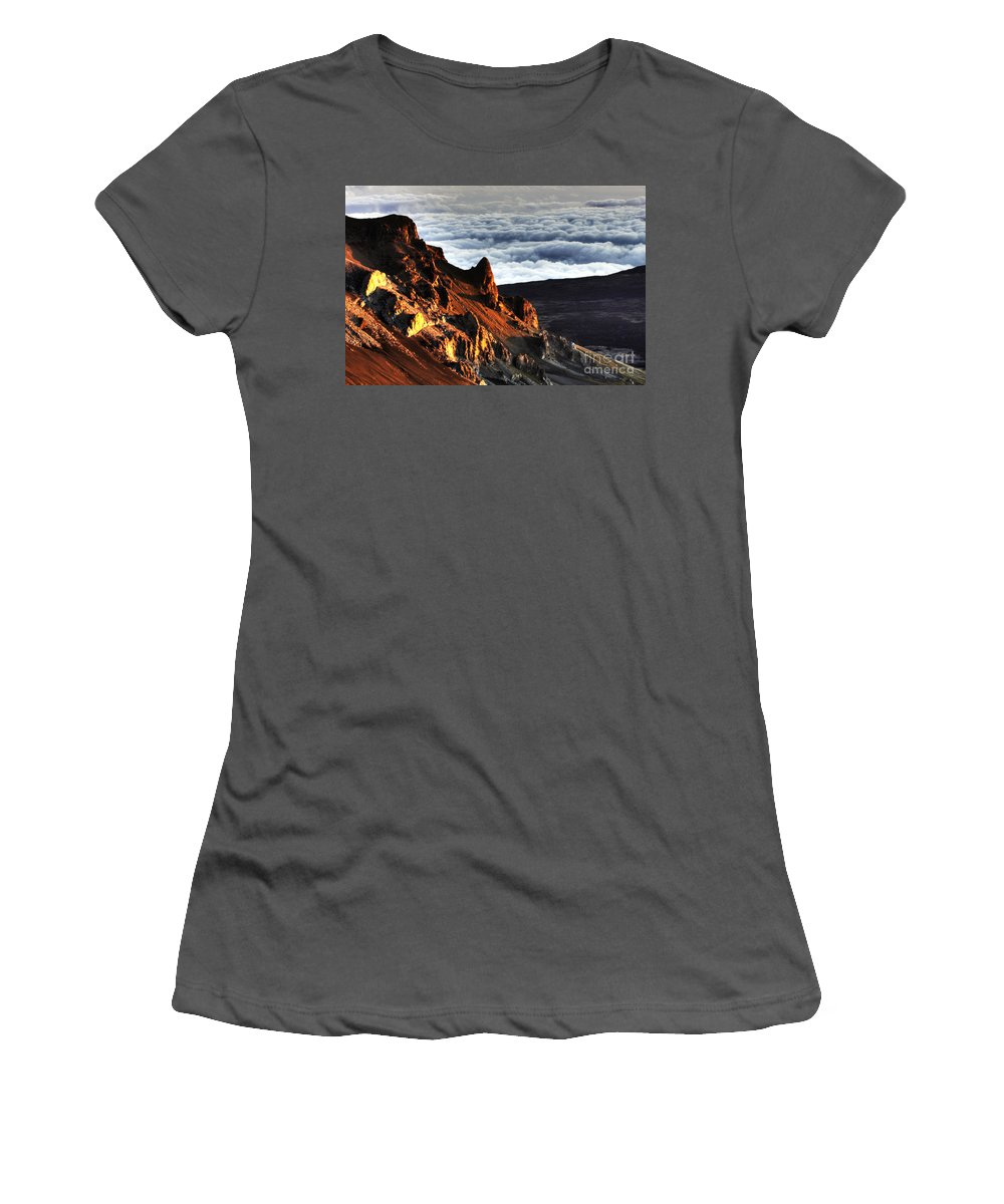 Clouds Women's T-Shirt (Athletic Fit) featuring the photograph Haleakala Morning Cloud by Bob Christopher