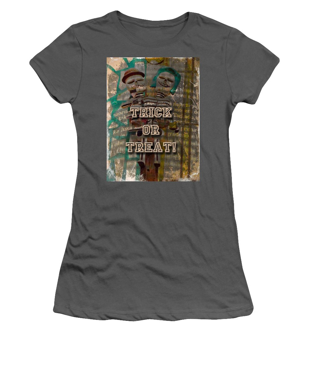 Halloween Women's T-Shirt (Athletic Fit) featuring the photograph Halloween Trick Or Treat Skeleton Greeting Card by Mother Nature