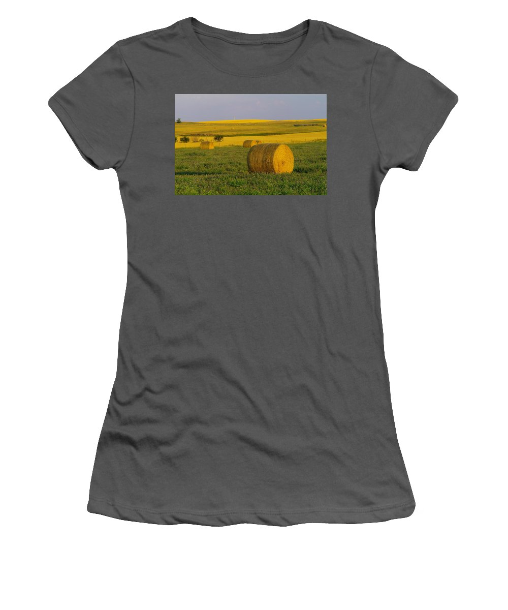 Landscape Women's T-Shirt (Athletic Fit) featuring the photograph Harvest In Montana by Jeff Swan
