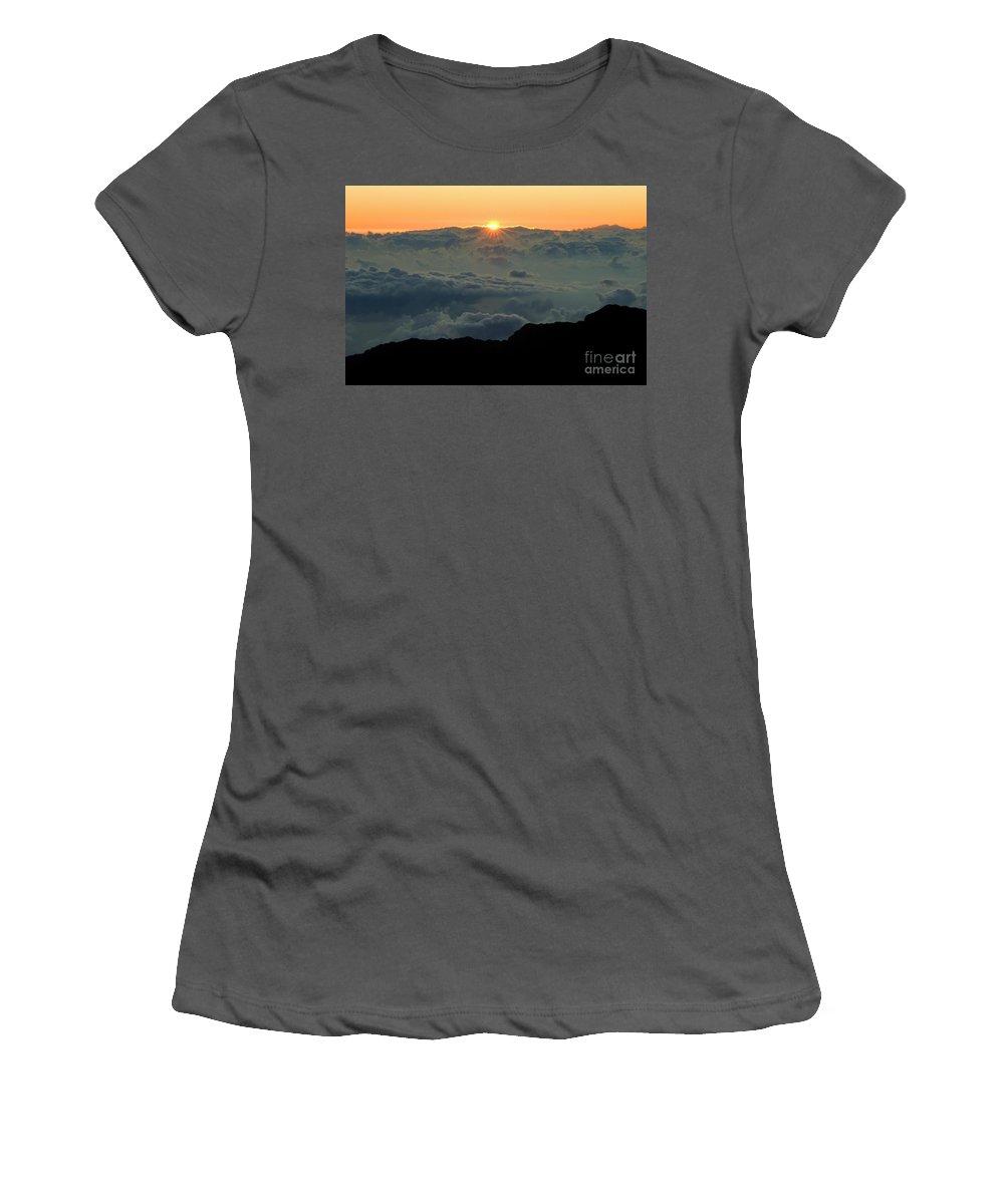 Hawaiian Sunrise Women's T-Shirt (Athletic Fit) featuring the photograph Hawaiian Sunrise by Bob Christopher
