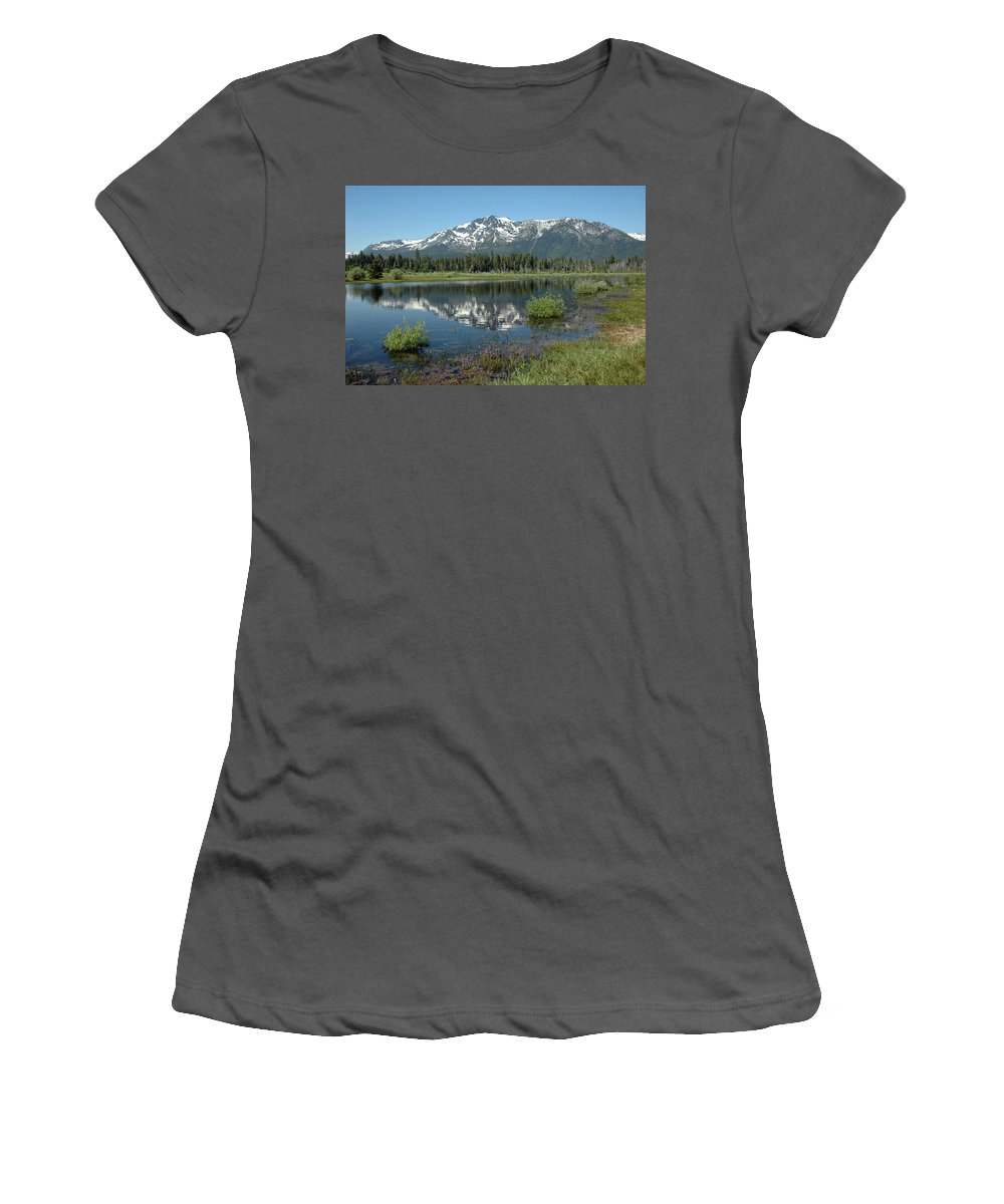 Usa Women's T-Shirt (Athletic Fit) featuring the photograph High Water Mt Tallac Reflections by LeeAnn McLaneGoetz McLaneGoetzStudioLLCcom