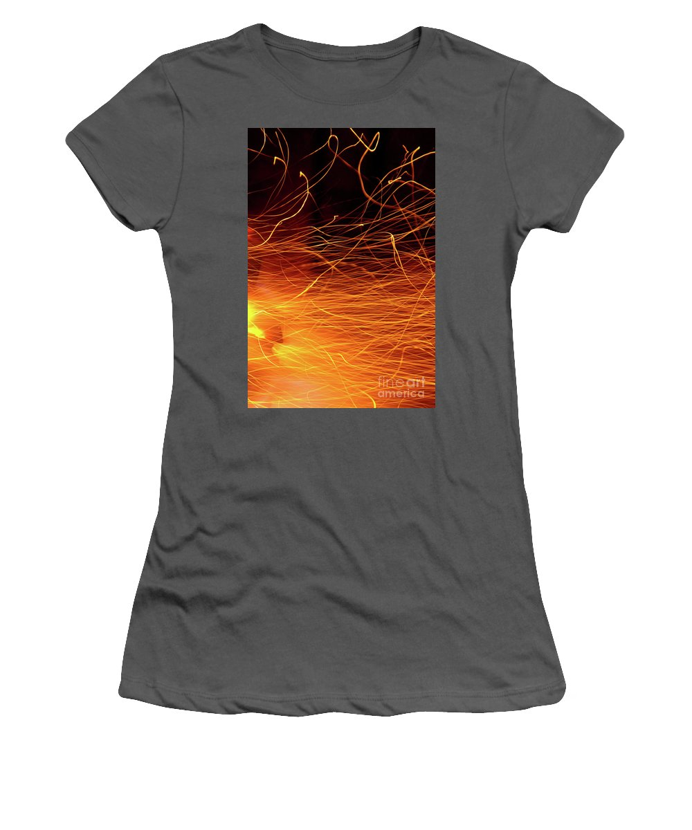 Ablaze Women's T-Shirt (Athletic Fit) featuring the photograph Hot Sparks by Carlos Caetano