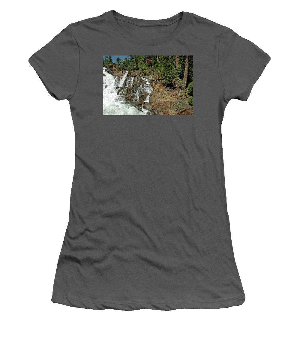 Usa Women's T-Shirt (Athletic Fit) featuring the photograph Icy Water Falls Glen Alpine Falls by LeeAnn McLaneGoetz McLaneGoetzStudioLLCcom