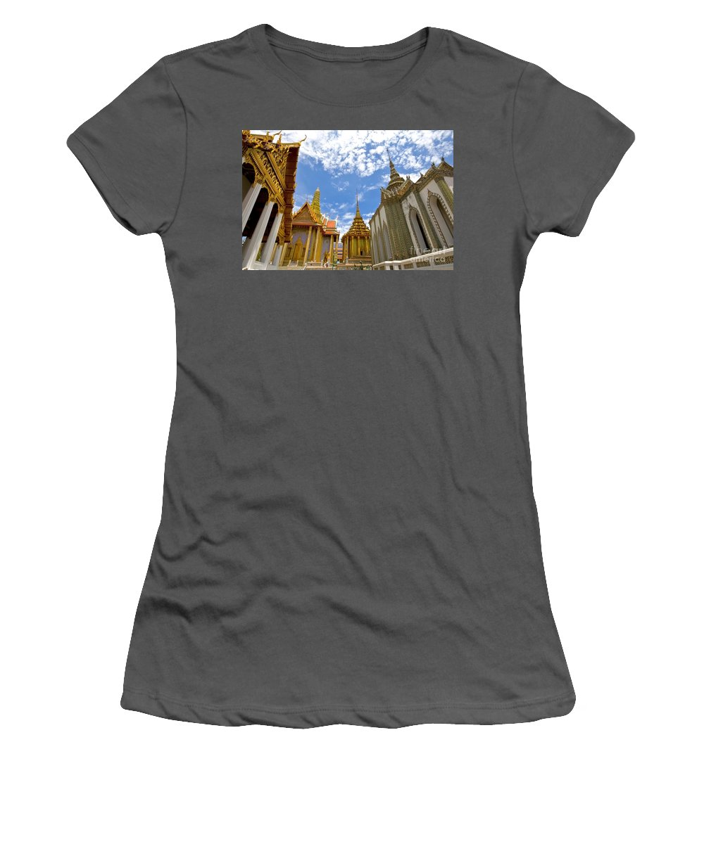 Architecture Women's T-Shirt (Athletic Fit) featuring the photograph Inside The Grand Palace Bangkok by Charuhas Images
