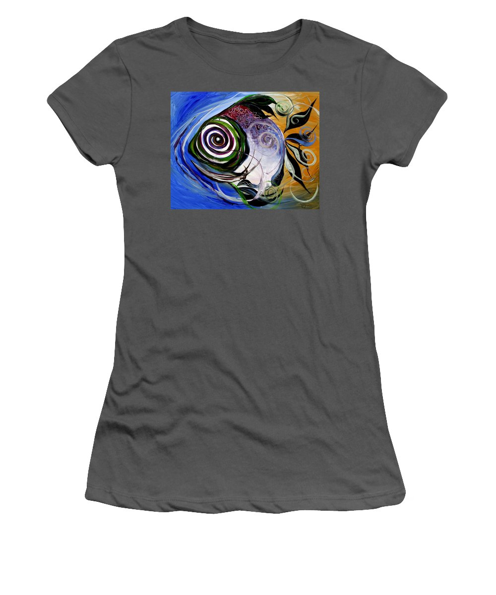 Fish Women's T-Shirt (Athletic Fit) featuring the painting J.v. Wishin Fish 3 by J Vincent Scarpace