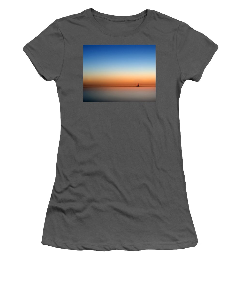 Lakeerie Women's T-Shirt (Athletic Fit) featuring the photograph Lake Eriesundown Smooth by Randall Branham