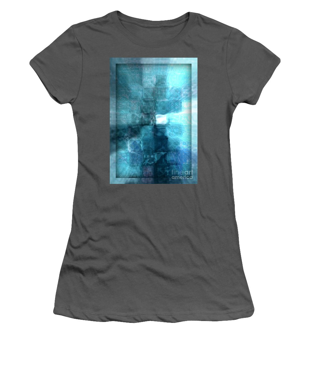 Abstract Women's T-Shirt (Athletic Fit) featuring the digital art Light At The End Of The Tunnel by Donna Bentley
