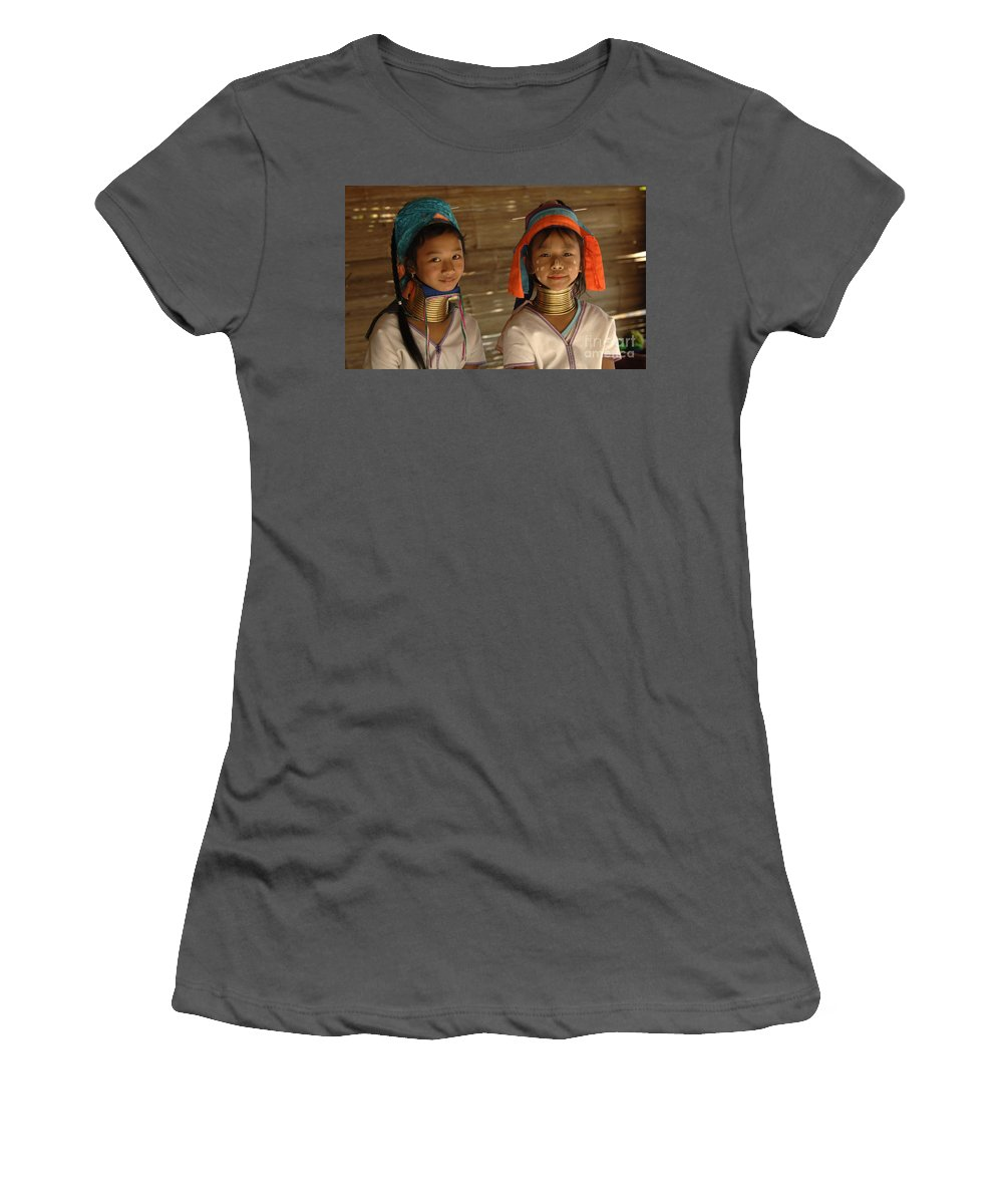 Long Necks Women's T-Shirt (Athletic Fit) featuring the photograph Long Neck Girls by Bob Christopher