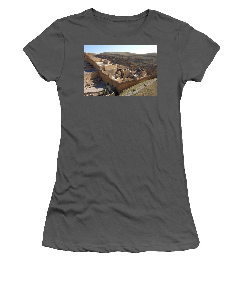 Mar Women's T-Shirt (Athletic Fit) featuring the photograph Mar Saba Monastery by Munir Alawi