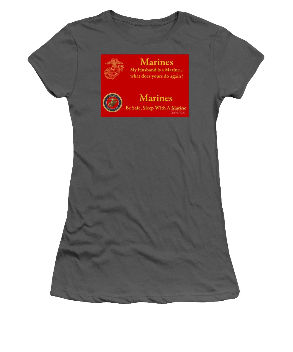 Marines Women's T-Shirt (Athletic Fit) featuring the photograph Marine Husband by Tim Mulina