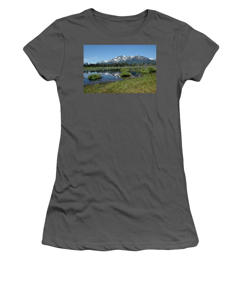 Usa Women's T-Shirt (Athletic Fit) featuring the photograph marsh Flowing to Lake Tahoe by LeeAnn McLaneGoetz McLaneGoetzStudioLLCcom