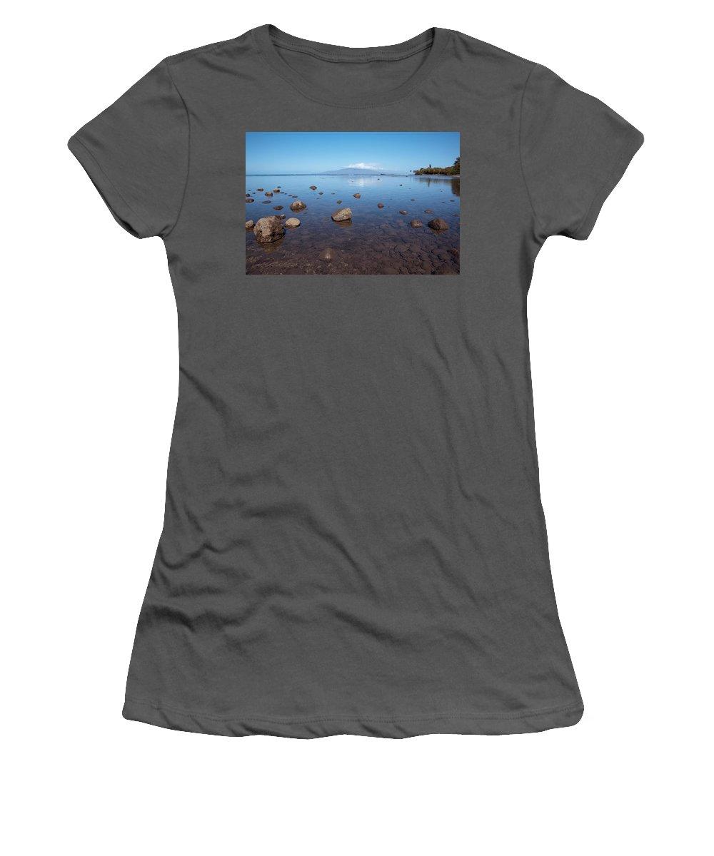 Aqua Women's T-Shirt (Athletic Fit) featuring the photograph Maui Rocky Shore by Jenna Szerlag