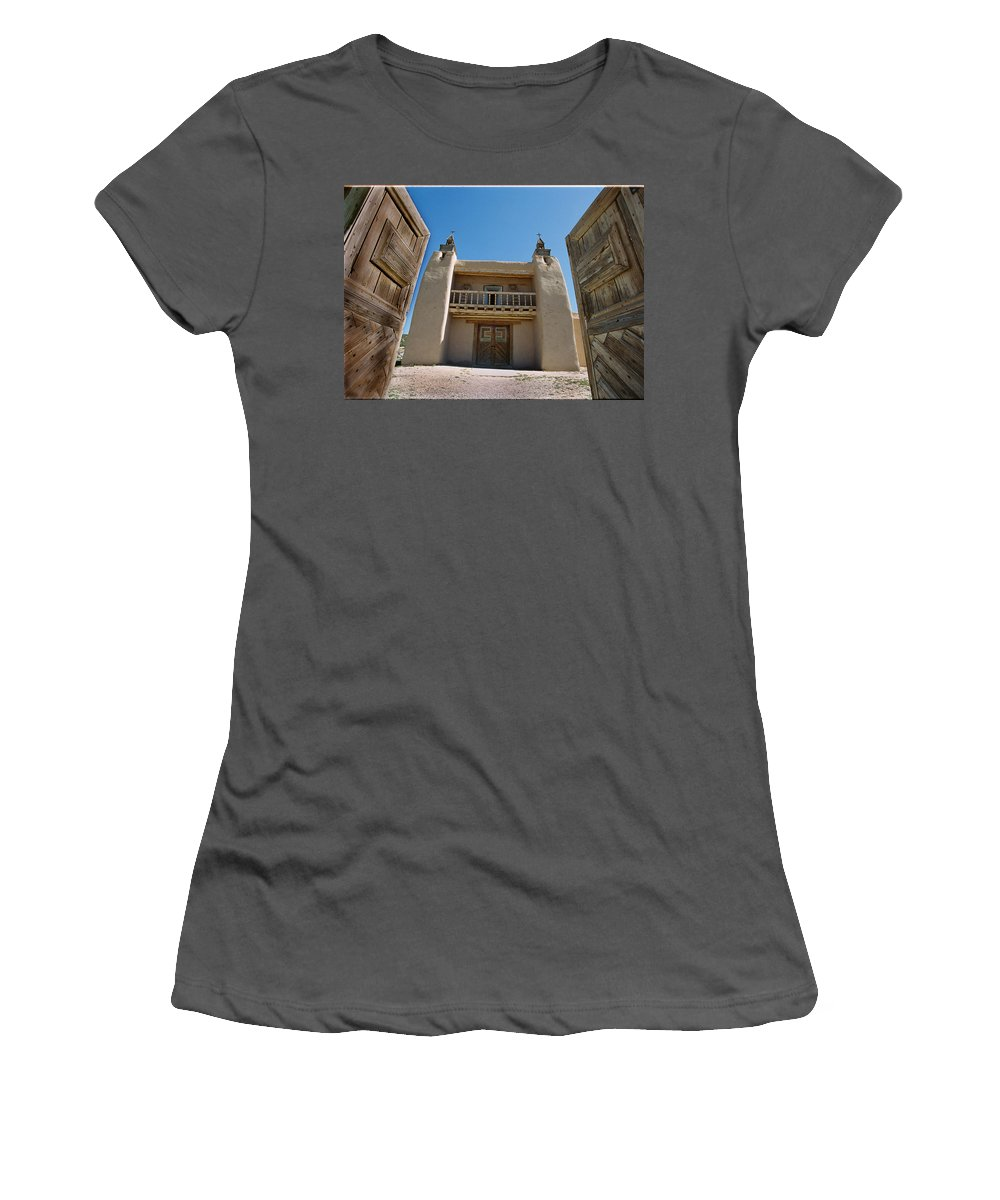 Las Trampas Women's T-Shirt (Athletic Fit) featuring the photograph Mission At Las Trampas by Ron Weathers