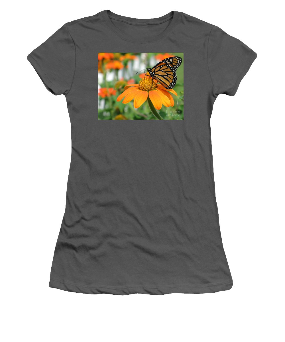 Butterfly Women's T-Shirt (Athletic Fit) featuring the photograph Monarch Butterfly On Tithonia Flower by Jack Schultz