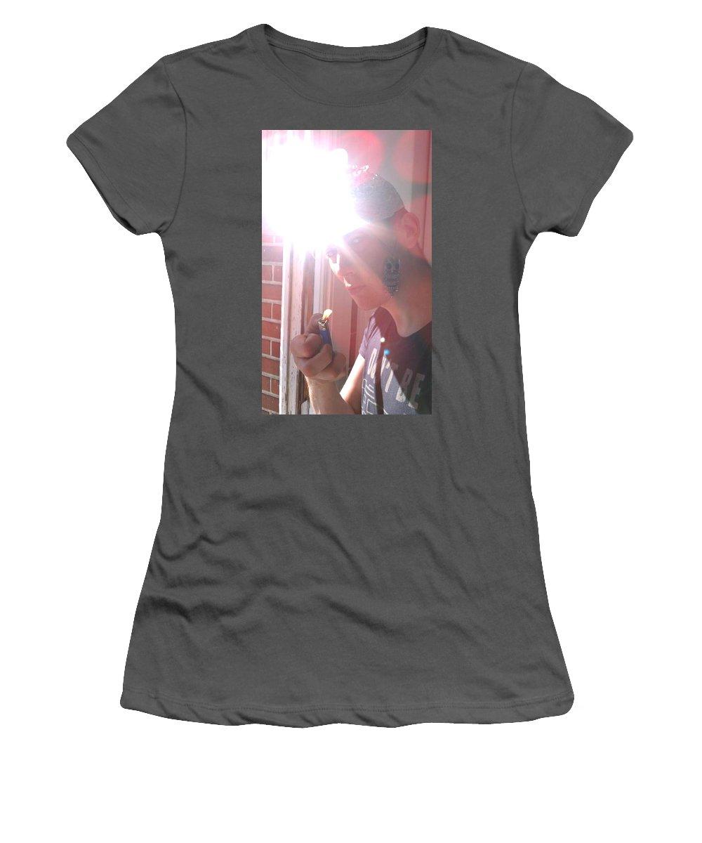 Moveonart! Global Gathering. Branch �experimentalsolarhatphoto� Digital Abstract Art By Artist Jacob Kane Kanduch � Omnetra Women's T-Shirt (Athletic Fit) featuring the digital art Moveonart Experimentalsolarhatphoto by Jacob Kanduch
