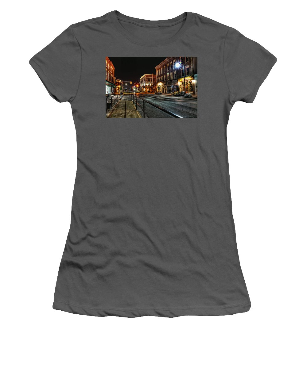 Xdop Women's T-Shirt (Athletic Fit) featuring the photograph Napanee After Midnight by John Herzog