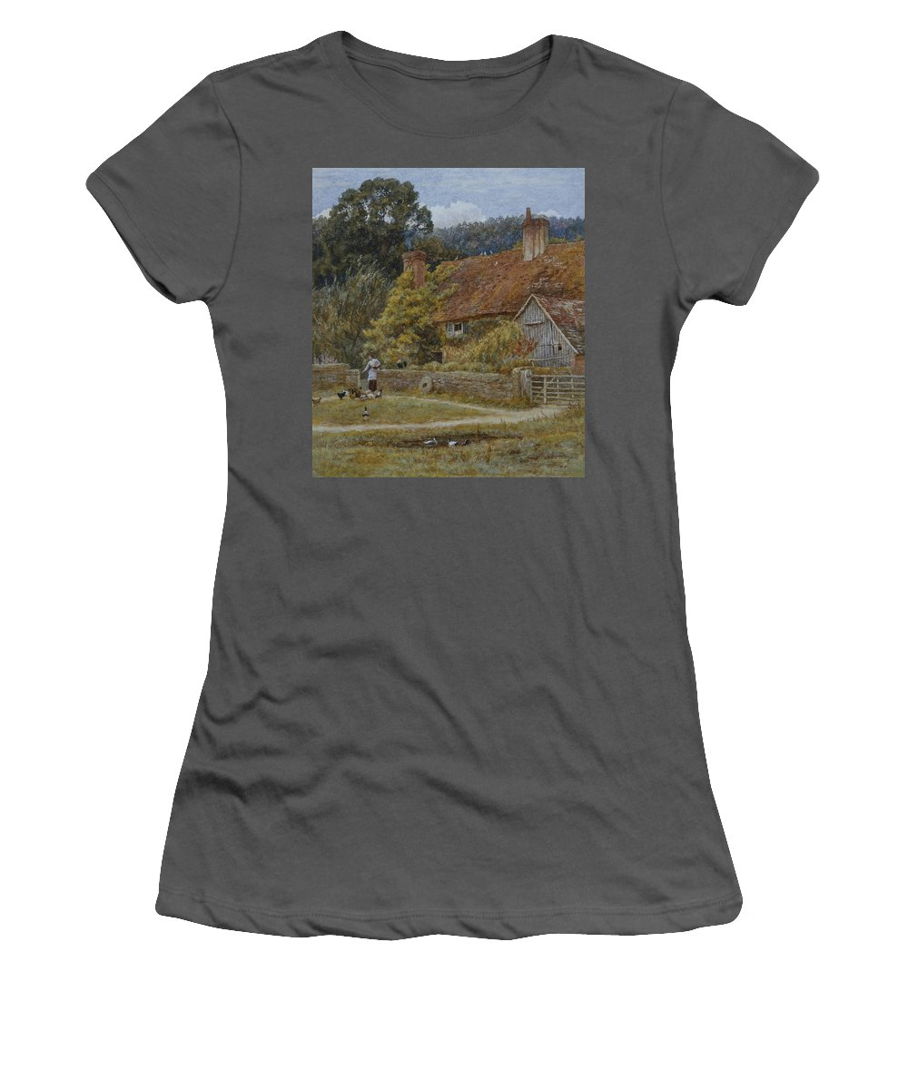 Farmhouse; House; Cottage; Ducks; Chickens; Hens; Feeding; Female; Victorian; Rural; Landscape; English Women's T-Shirt (Athletic Fit) featuring the painting Netley Farm Shere Surrey by Helen Allingham