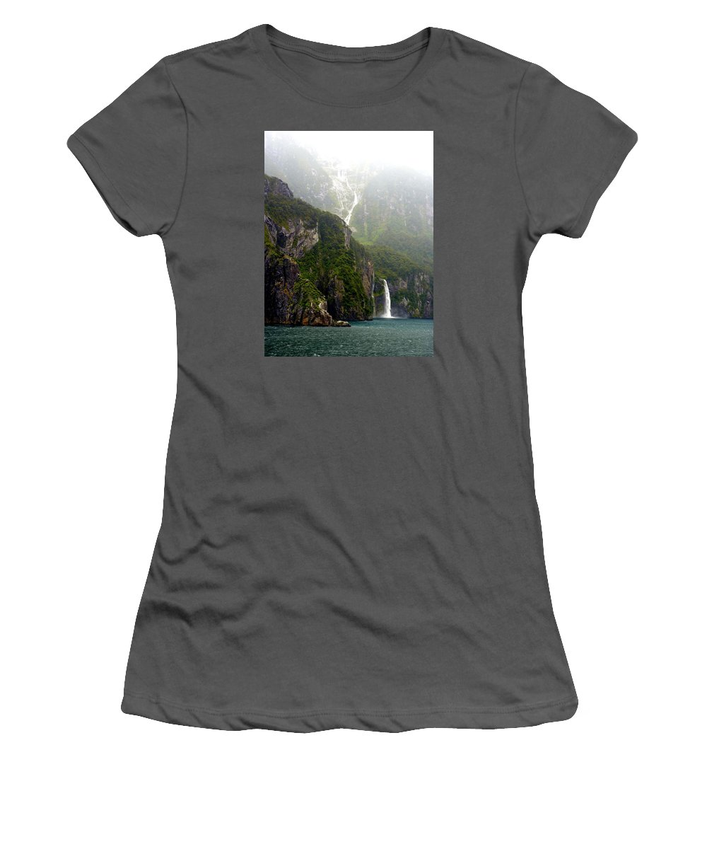 Milford Women's T-Shirt (Athletic Fit) featuring the photograph New Zealand's Milford Sound by Carla Parris