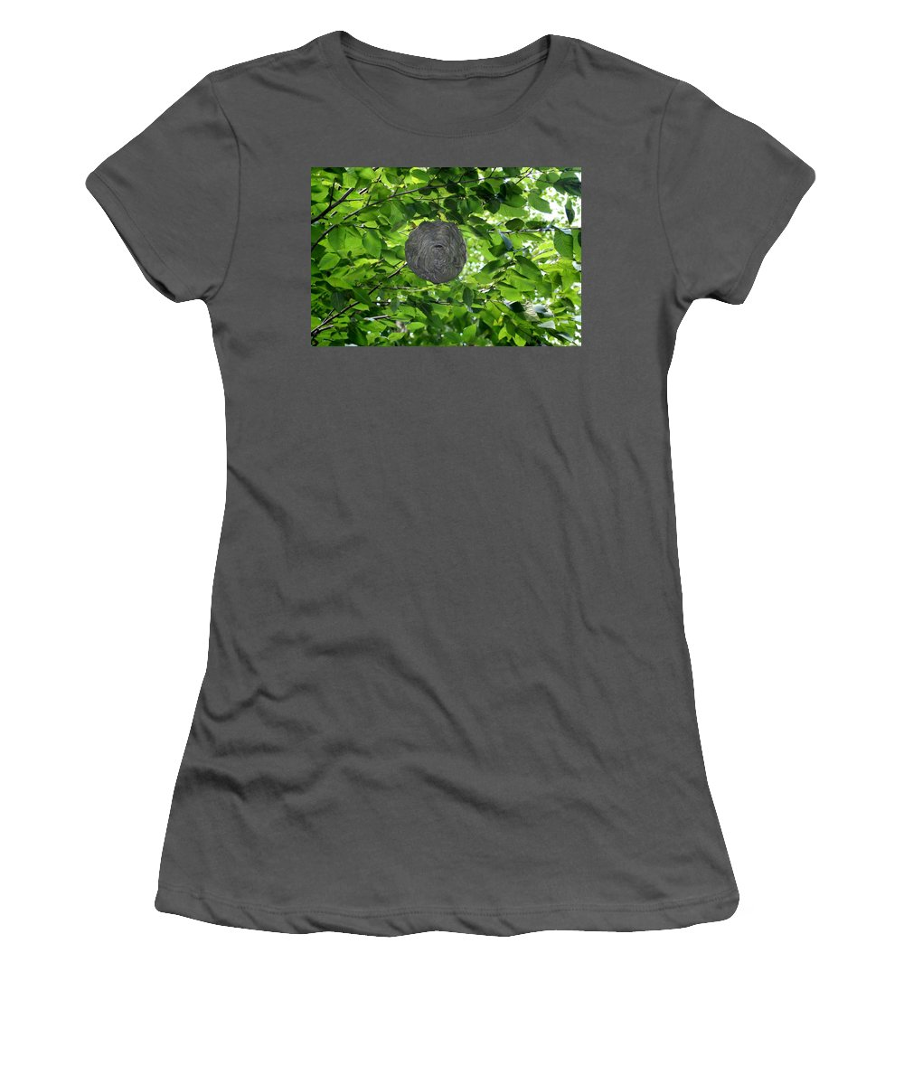 Bee Hive Women's T-Shirt (Athletic Fit) featuring the photograph Occupied Bee Hive by Barbara S Nickerson