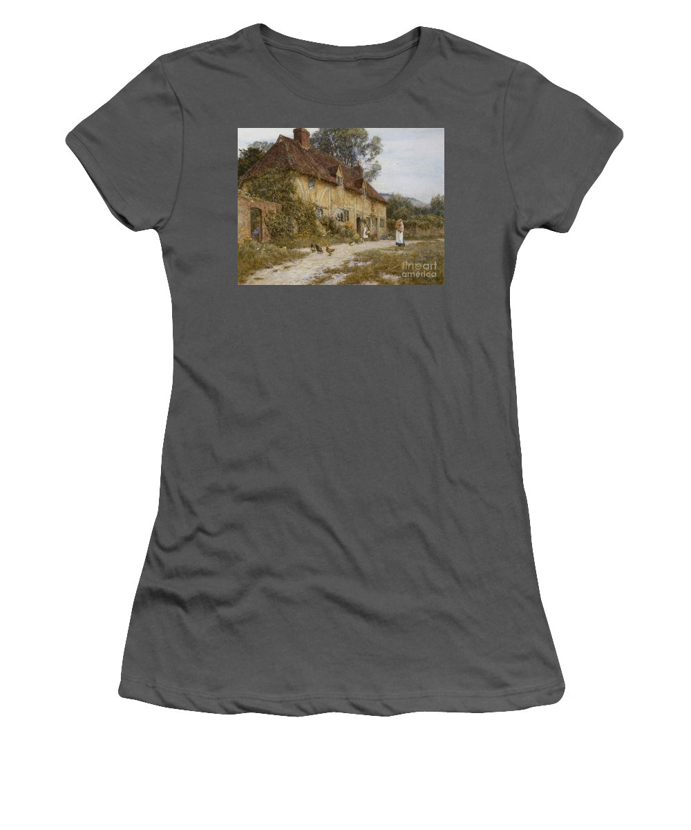 English; Landscape; C19th; C20th; Victorian; Country; Lane; Half-timbered; Mother; Child; Children; Female; Chickens; Rural Women's T-Shirt (Athletic Fit) featuring the painting Old Kentish Cottage by Helen Allingham