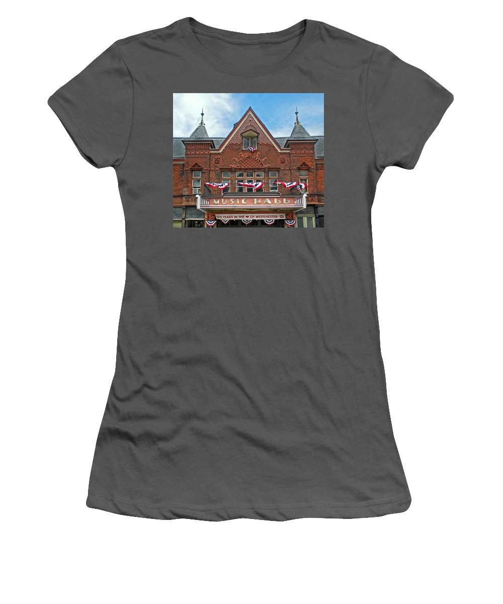 Music Hall Women's T-Shirt (Athletic Fit) featuring the photograph Old Music Hall Tarrytown New York by Dave Mills