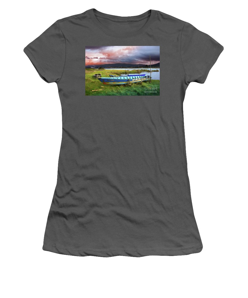 Autumn Women's T-Shirt (Athletic Fit) featuring the photograph Old Row Boats by Carlos Caetano