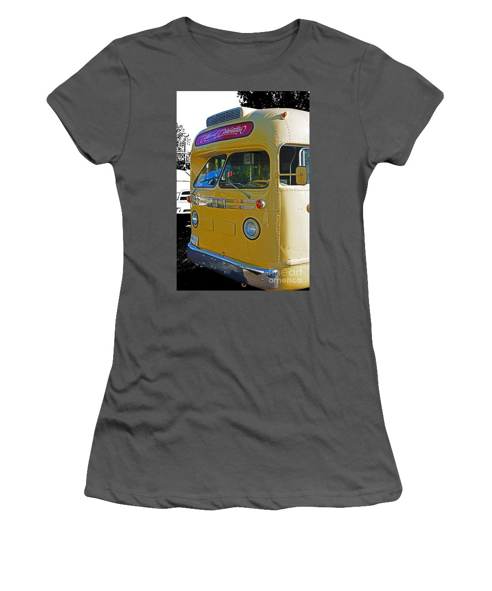 Bus Women's T-Shirt (Athletic Fit) featuring the photograph Old Yellow Transit Bus Abstract by Randy Harris