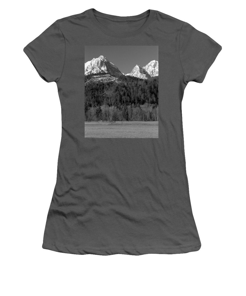 Mountains Women's T-Shirt (Athletic Fit) featuring the photograph Peaks Near Schwangau In The Bavarian Alps by Greg Matchick
