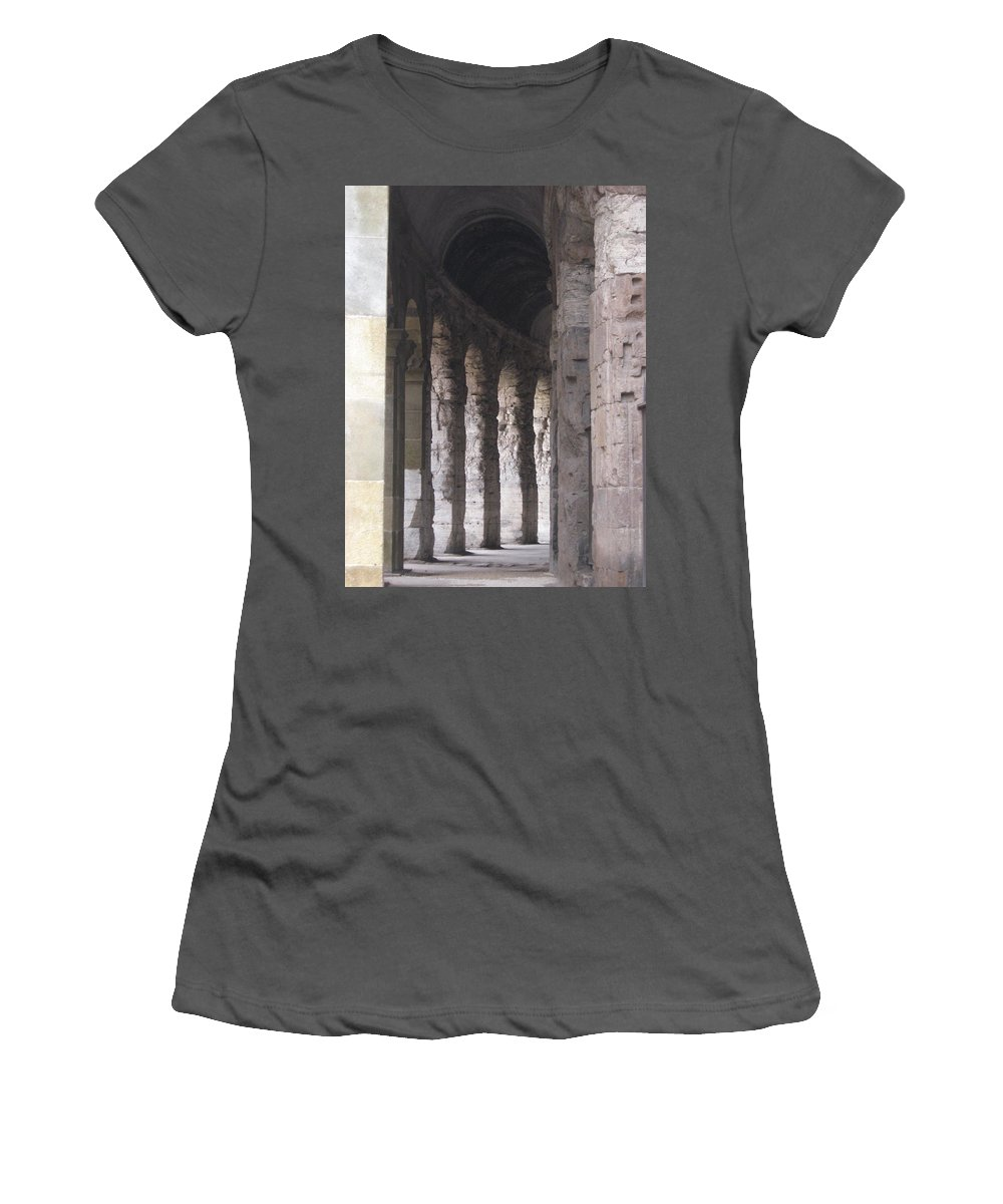 Pilars Women's T-Shirt (Athletic Fit) featuring the photograph Pilars In Rome by Catie Canetti