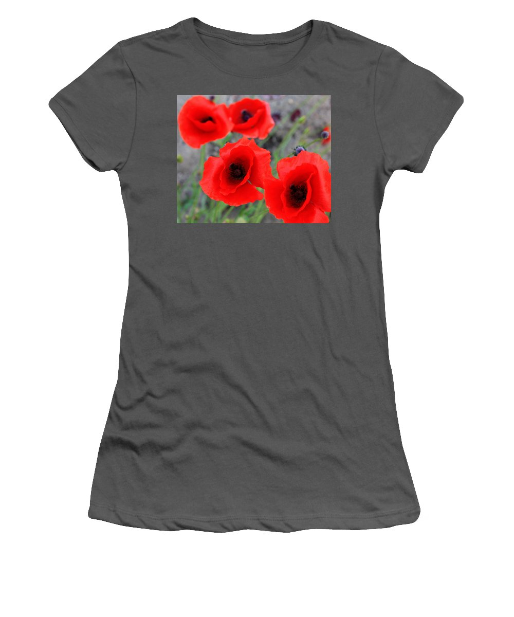 Elm Women's T-Shirt (Athletic Fit) featuring the photograph Poppies Of Stone by The Artist Project