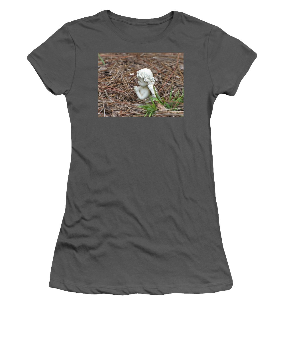 Statue Women's T-Shirt (Athletic Fit) featuring the photograph Praying Angel by Michelle Powell