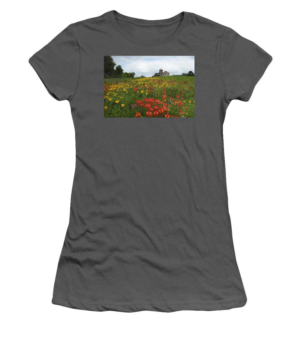 Texas Women's T-Shirt (Athletic Fit) featuring the photograph Presidio La Bahia 1 by Susan Rovira