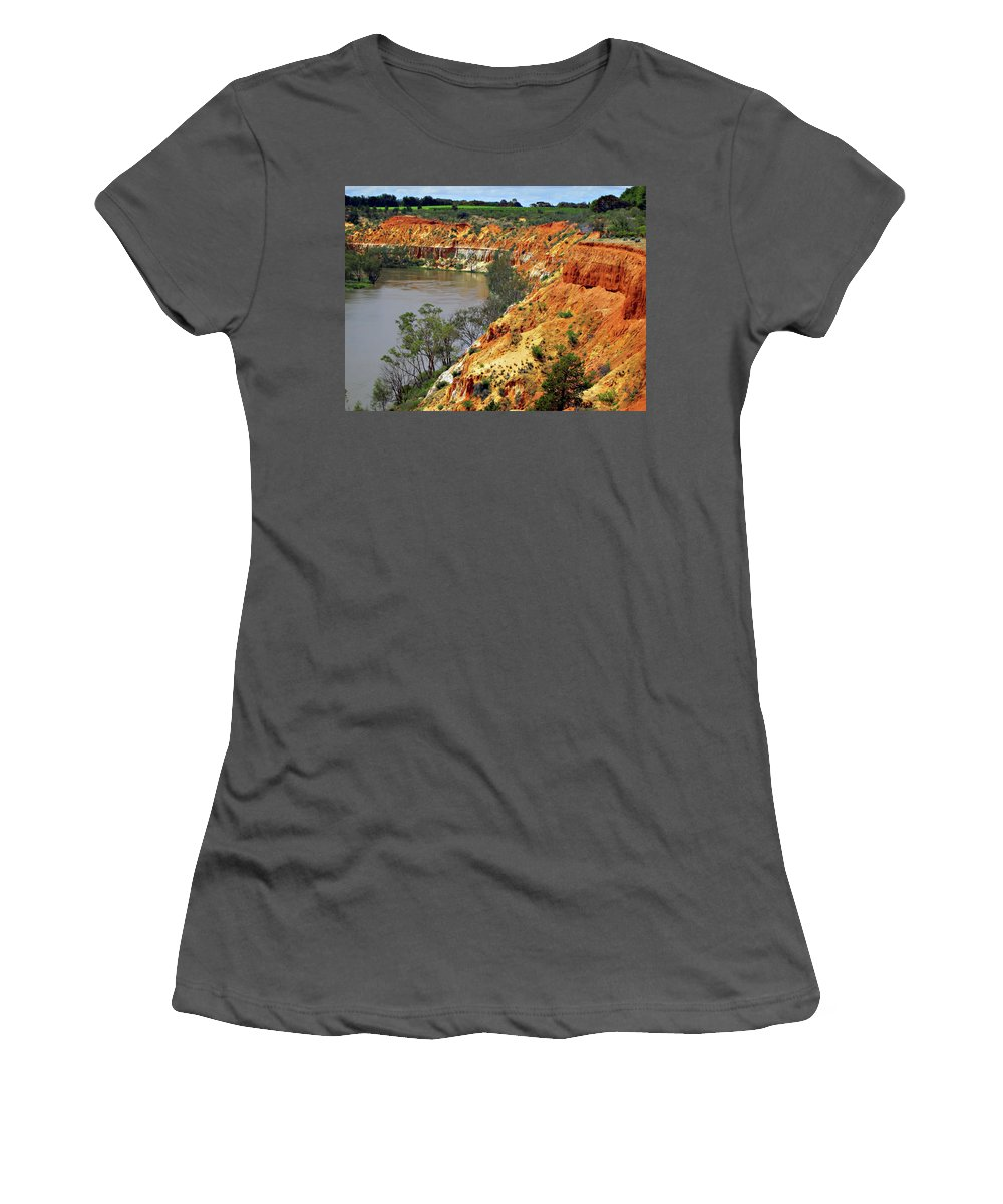 Red Women's T-Shirt (Athletic Fit) featuring the photograph Red Eroded Soil by Douglas Barnard