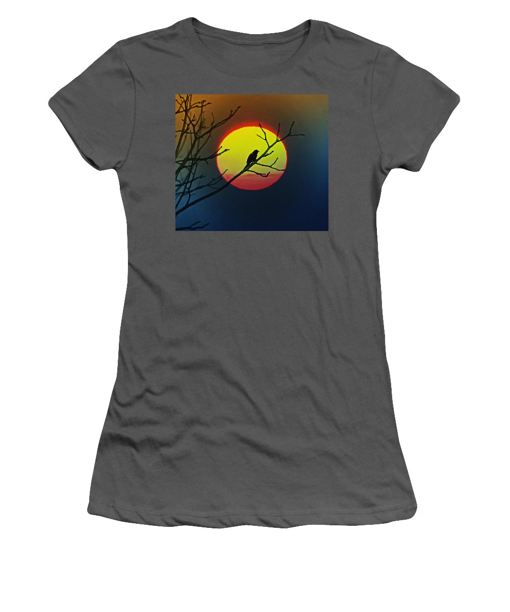 Red Winged Blackbird In The Sun Women's T-Shirt (Athletic Fit) featuring the photograph Red Winged Blackbird In The Sun by Bill Cannon