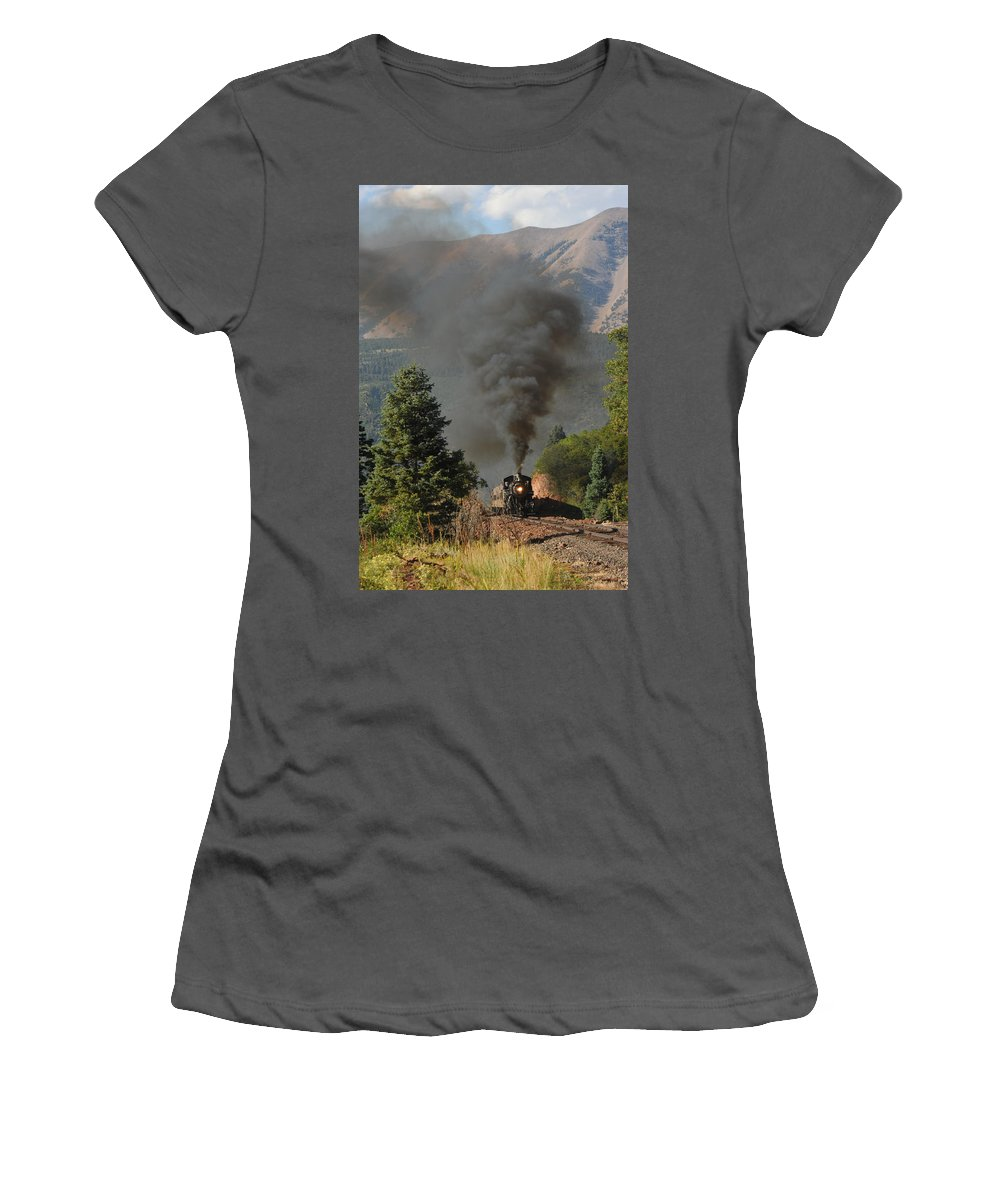 Rio Grande Railroad Women's T-Shirt (Athletic Fit) featuring the photograph Rio Grande Rr by Ron Weathers