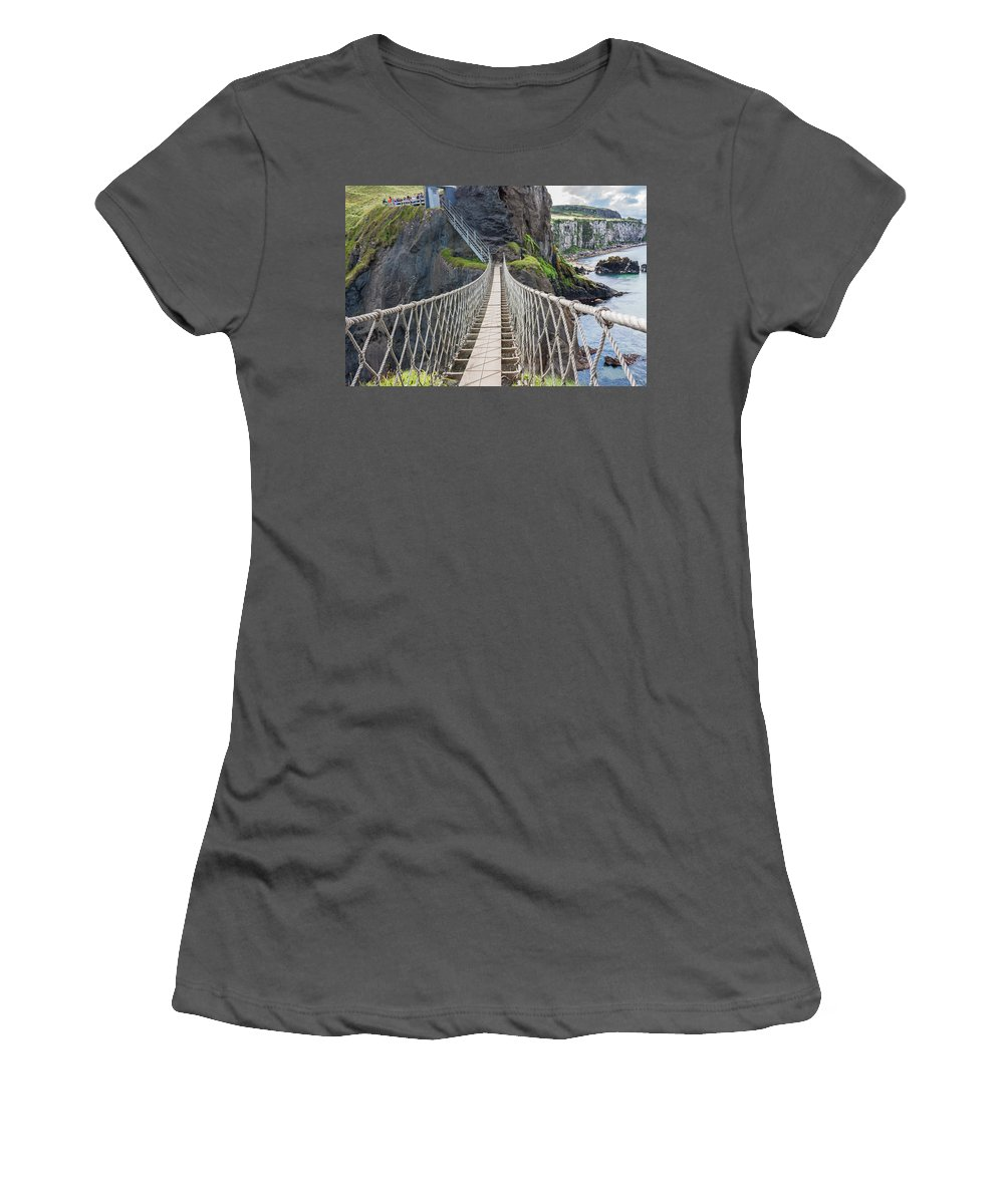 Bridge Women's T-Shirt (Athletic Fit) featuring the photograph Rope Bridge At Carrick-a-rede In Northern Island by Semmick Photo