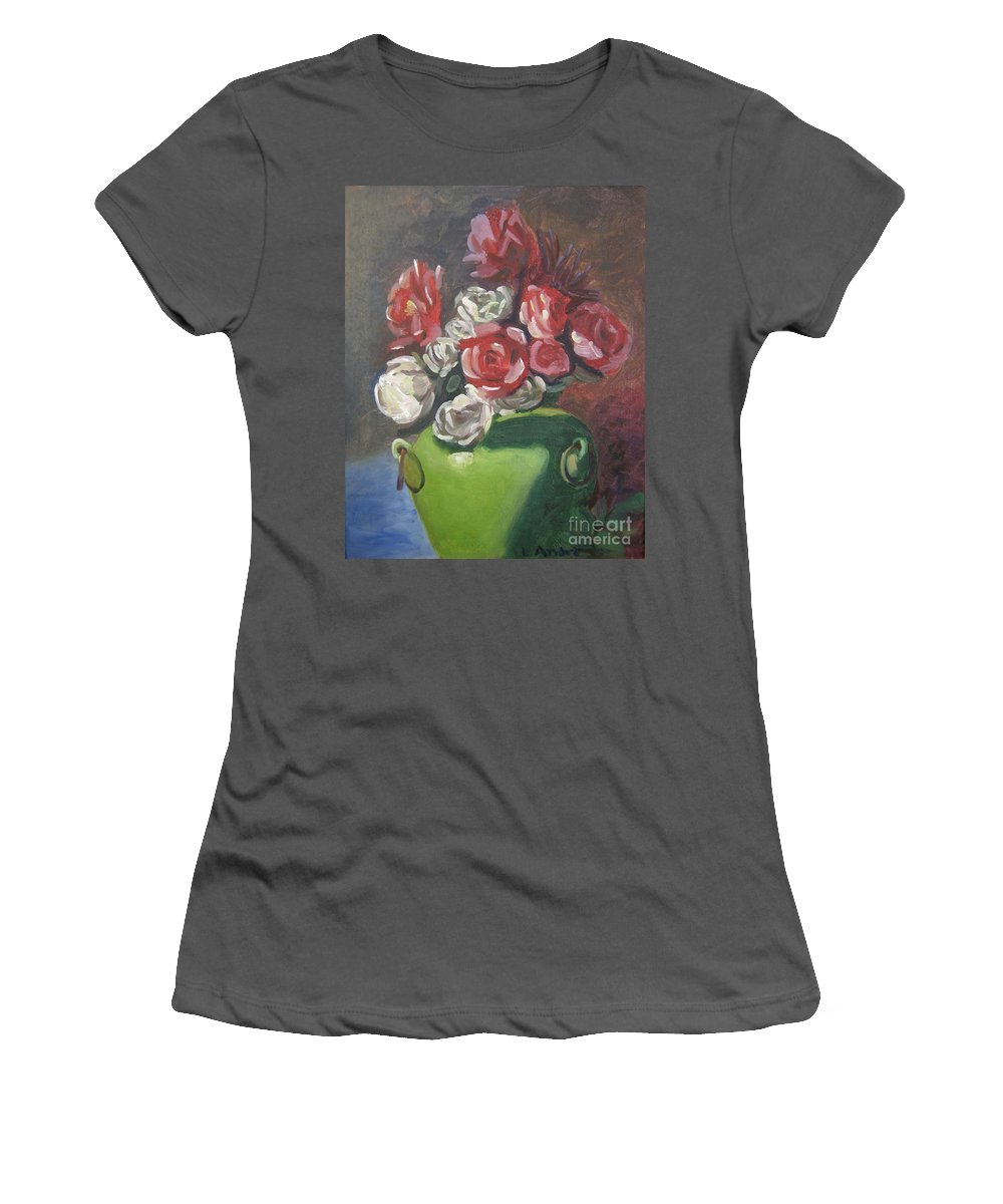 Floral Women's T-Shirt (Athletic Fit) featuring the painting Roses And Green Vase by Lilibeth Andre
