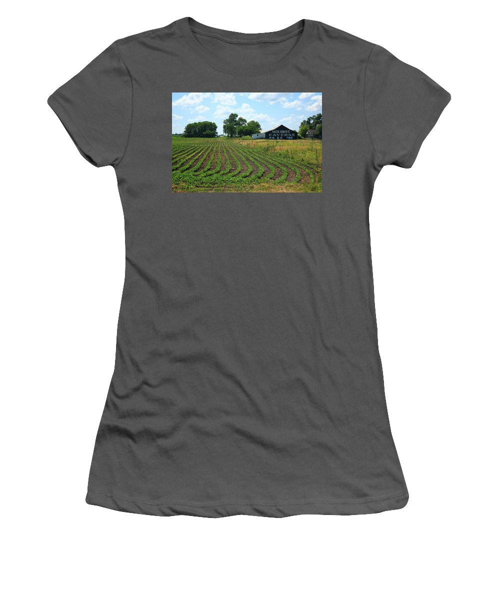 66 Women's T-Shirt (Athletic Fit) featuring the photograph Route 66 - Meramec Caverns Barn by Frank Romeo