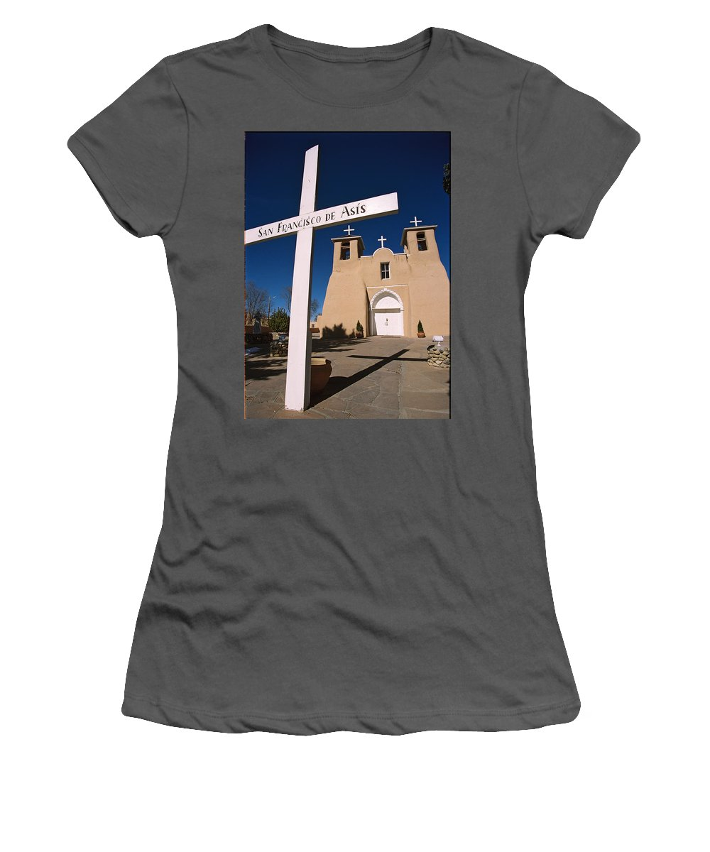 Taos Women's T-Shirt (Athletic Fit) featuring the photograph San Francisco De Asis by Ron Weathers