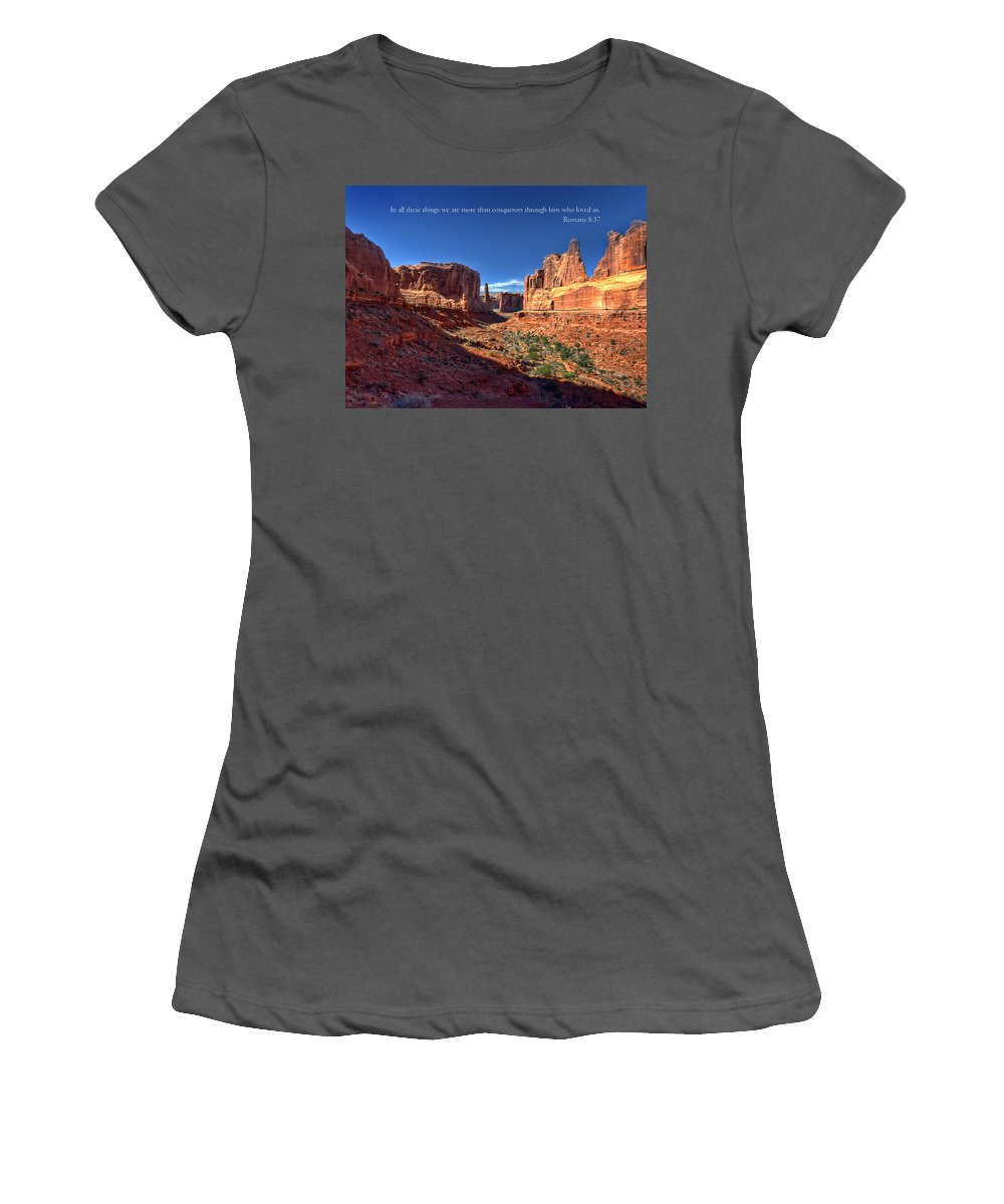 Moab Women's T-Shirt (Athletic Fit) featuring the photograph Scripture And Picture Romans 8 37 by Ken Smith