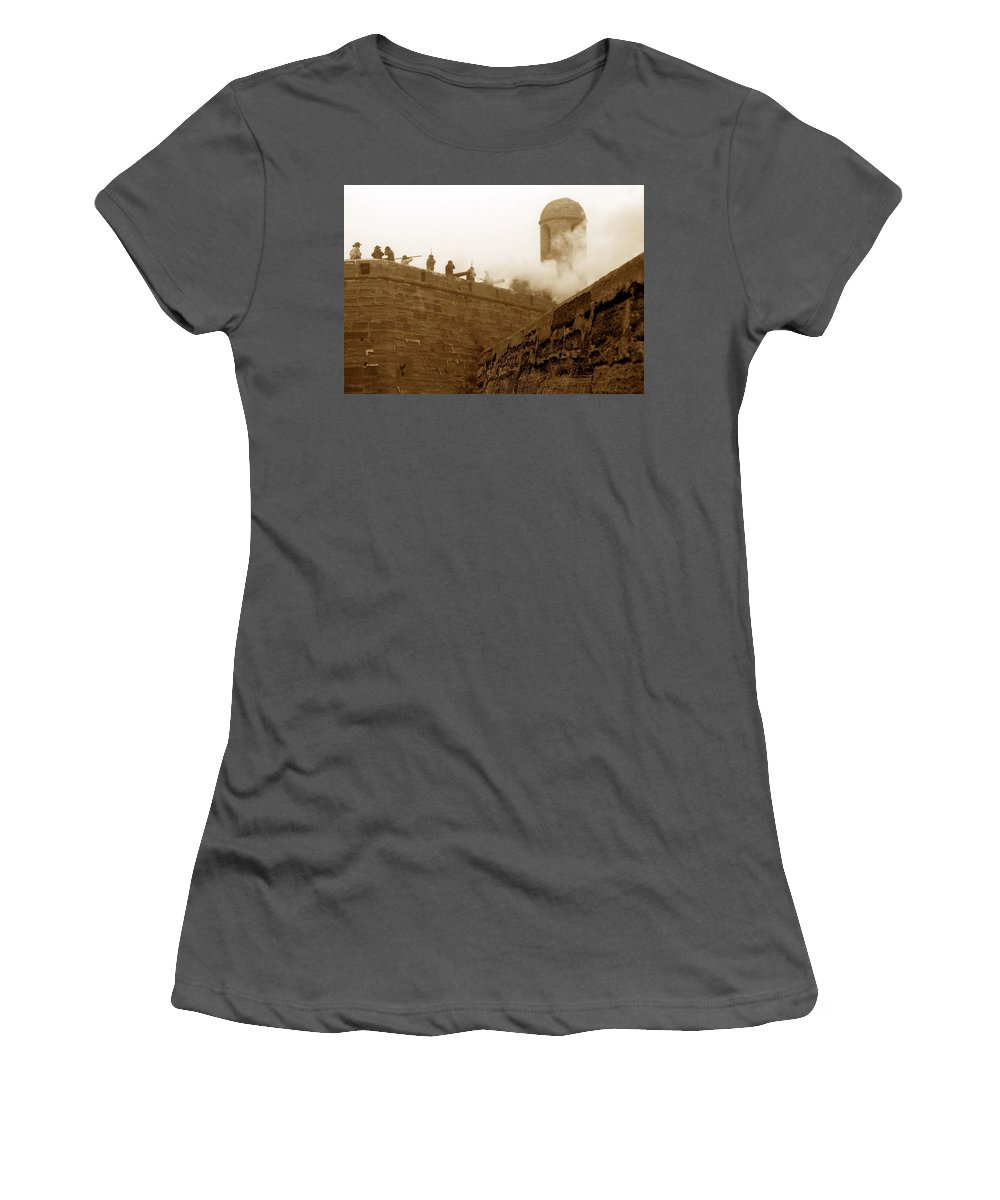Fine Art Photography Women's T-Shirt (Athletic Fit) featuring the photograph Siege Of Saint Augustine by David Lee Thompson