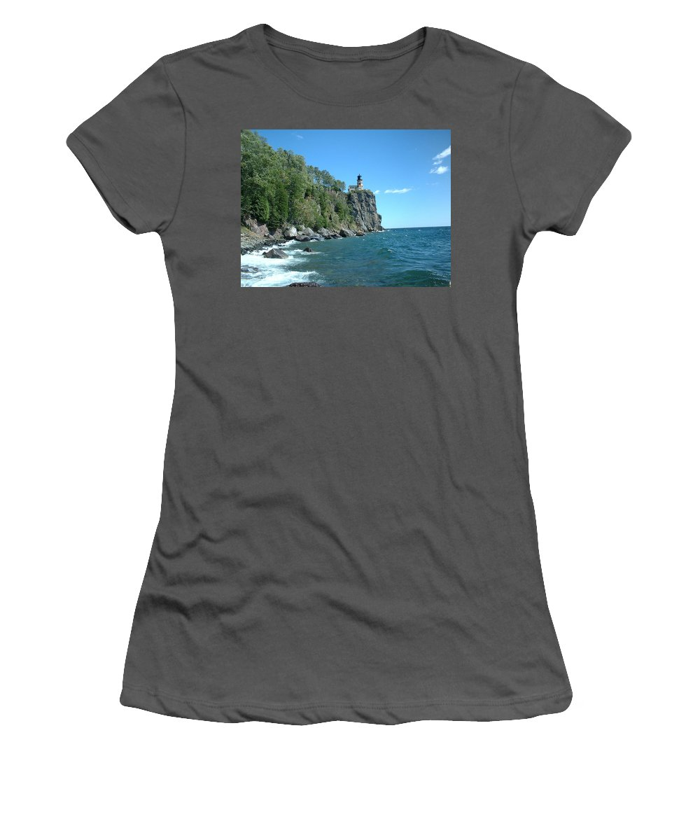 Lighthouse Women's T-Shirt (Athletic Fit) featuring the photograph Split Rock by Bonfire Photography